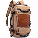 KAKA Travel Duffle Backpack Convertible Carry-On Bag fit 15.6'' Laptop Khiki