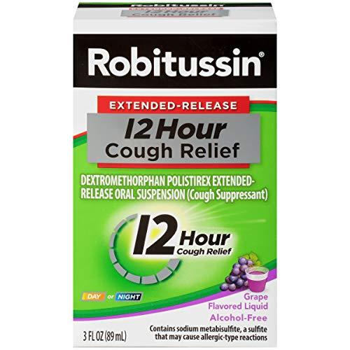 Robitussin Extended-Release 12 Hour Cough Relief (3 fl. oz. Bottle, Grape Flavor), Alcohol-Free Cough Suppressant