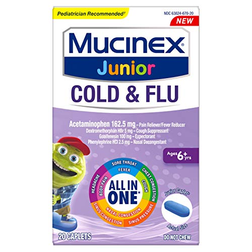 Cold and Flu, Mucinex Junior Cold and Flu Caplets, 20ct, Ages 6+ years, All-in-One Cough, Sore Throat, Fever, Headache, Body Pain, Sinus Pressure, Nasal, Chest and Sinus Congestion Relief by Mucinex