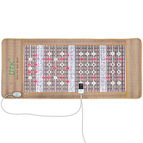 UTK Photon Heating Mat, Far Infrared Heating Pad for Pain Relief, Amethyst Therapy Pad,19 Natural Jade Stones, 14 Tourmaline Stones,24 Photon Red Light, Memory Function, Auto Shut Off (Size:73'x32')