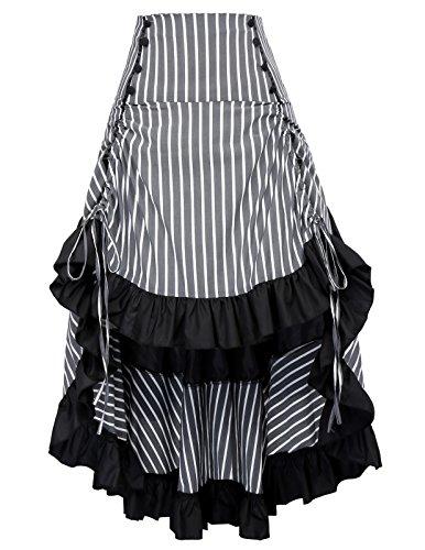 Steampunk Victorian High Low Bustle Skirt Renaissance Costume Women BP345-3 M
