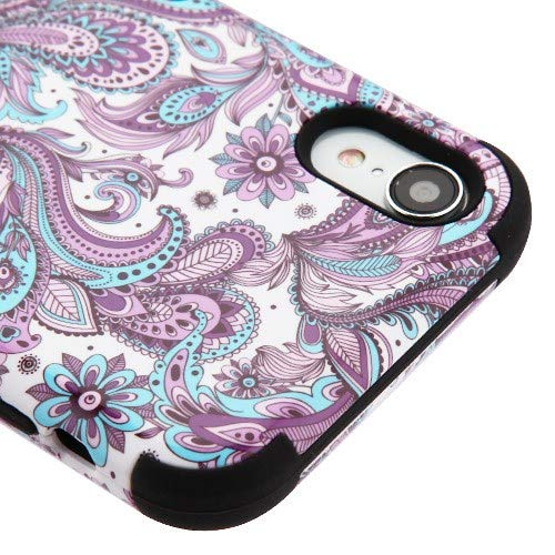 Kaleidio Case for Apple iPhone XR (6.1') [TUFF] Hybrid 3-Piece Armor [Shockproof] Dual Layer Impact Rubber Cover [Purple Flower Paisley Design]