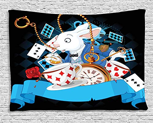 JOOCAR Alice in Wonderland Tapestry Rabbit Motion Cups Hearts and Flower Character Alice Cartoon Style, Wide Wall Hanging for Bedroom Living Room Dorm Black Blue