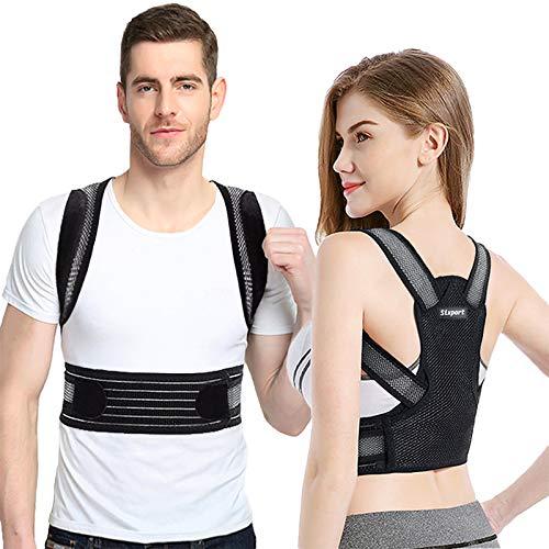Posture Corrector for Women and Men, Sixport Back Brace, Adjustable Kyphosis Brace, Comfortable Scoliosis Back Humpback Correction Belt for Students & Children & Adult (Waistline 29-32')