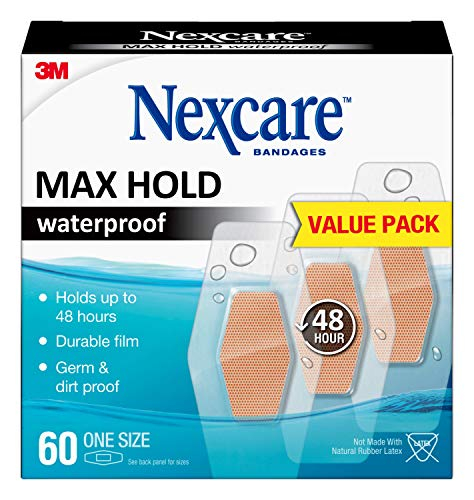 Nexcare Max Hold Waterproof Bandages, Cream, 60 Count (Pack of 1)