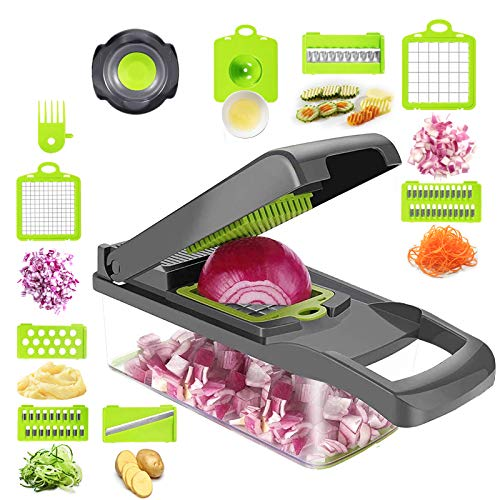 Kuanhong Vegetable Chopper Veggie Slicer Dicer Vegetable Cutter, Onion Chopper with Container, Multifunction Pro Food Chopper Kitchen(8 Blades), with Safety Hand Protection tool and Egg Separator