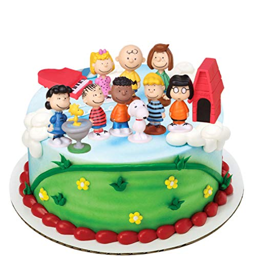 Peanuts Movie Classic Characters Birthday Cake Topper Set, Featuring 12 Pcs Toy Figures Palyset with Snoopy, Charlie and More Cake Decoration Pack for Boy Girl Birthday Party Supplies (Snoopy)