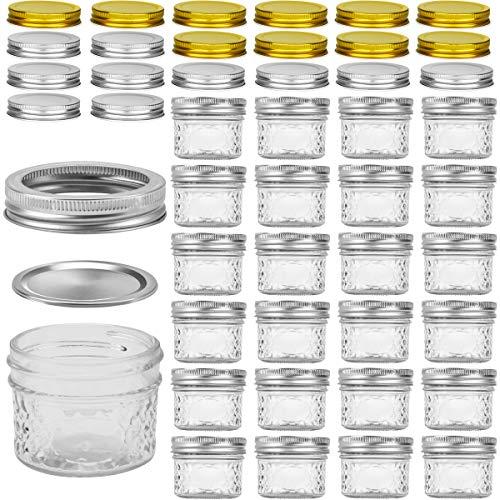 Mini Mason Jars, VERONES Mason Jars 4 oz With Regular Lids, Ideal for Jam, Honey, Wedding Favors, Shower Favors, Baby Foods, DIY Magnetic Spice Jars, 25 PACK, Extra 20 Lids.