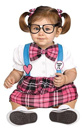 Fun World Girls Toddler Cutie Pi Nerd Costume, Multi, Small