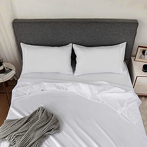 Emporiah Bed Sheets Queen Size 4 Piece Sheet Set Super Soft Microfiber Bed Set 16 Inch Deep Pocket Fitted Sheet, 1 Flat Sheet, 2 Pillowcases Wrinkle and Stain Resistant (Queen, White)