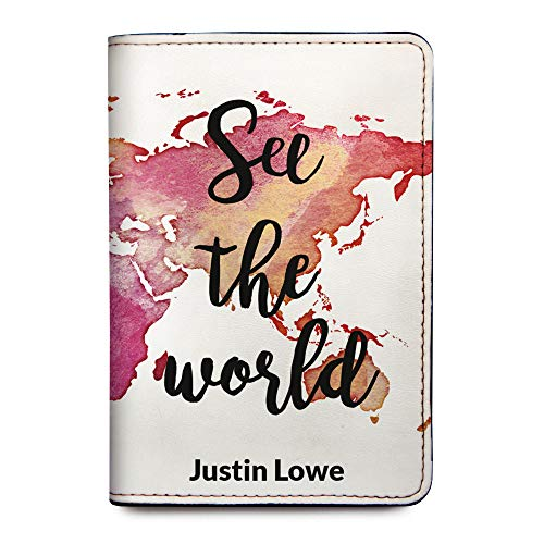 Personalized Leather Passport Holder Cover - RFID Travel Wallet