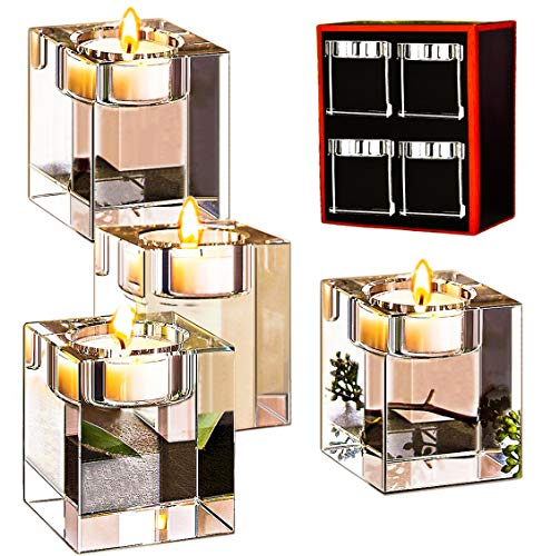 Le Sens Amazing Home Classic Cube Crystal Candle Holder Set of 4 - Solid Square Clear Glass Table Centerpiece - Elegant Votive Tealight Candlestick for Ceremony Wedding & Home Decoration