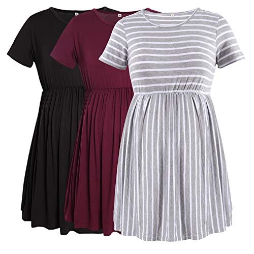 PrettyLife Womens Maternity Pleated Tops Modal Short Sleeve Flattering Pregnancy Shirts 3-Pack (Black+Wine red+Stripe, X-Large)
