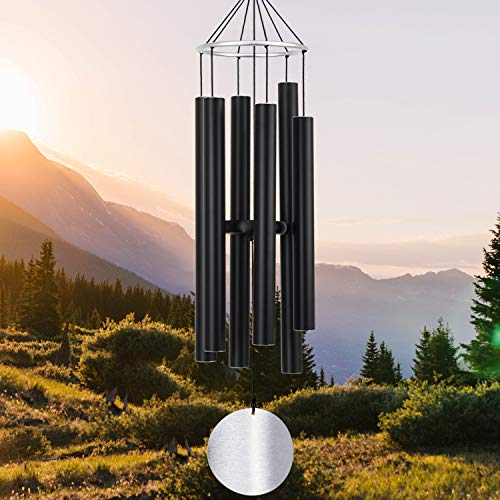 ASTARIN Wind Chimes Outdoor Large Deep Tone,36Inch Large Wind Chimes for Outside Tuned Relaxing Soothing Low Bass,Memorial Wind Chimes Sympathy for Mom Dad,Black(A Free Card)