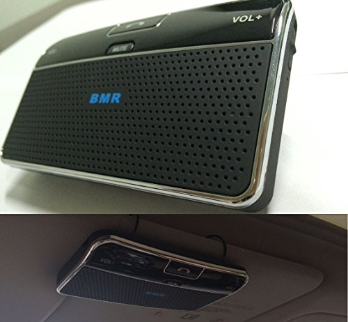 BMR Bluetooth Visor car Bluetooth Handsfree Two-Speaker Speakerphone Car kit for iPhone, Samsung, HTC and All Other Cellphones - 2 Speakers with Even Better Sound Quality Added Mute Function Key