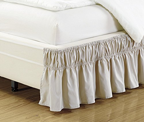 Fancy Collection Twin - Full Easy Fit Bed Ruffle Wrap Around Elastic Bed Skirt with 17' Drop New Easy Install Solid Beige
