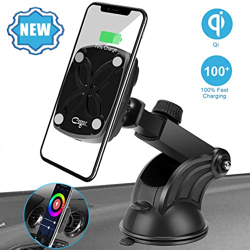 Cegar Magnetic Wireless Car Charger,10W/7.5W Car Charging Mount, QI Fast Charging Windshield Dashboard & Vent Car Phone Holder for Phone 11/11 Pro/11 Max/Xs/XS Max/8,Samsung Galaxy S10/S10 Plus/S9/ S9