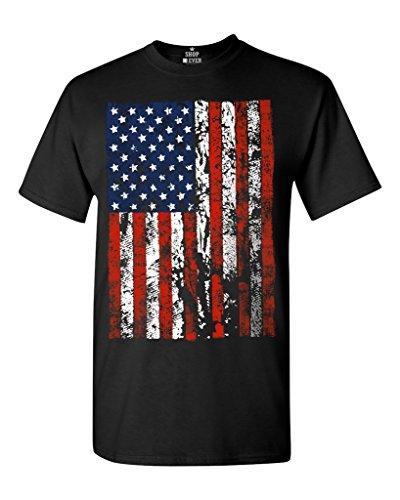 shop4ever United States of America Flag Vintage T-Shirt Flag Shirts #13500 Large Black