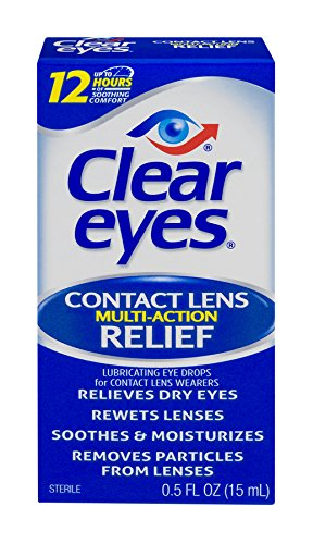 Clear Eyes | Contact Lens Multi-Action Relief Eye Drops | 0.5 FL OZ
