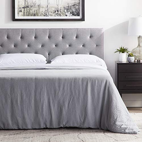 """LUCID Mid-Rise Upholstered Headboard - Adjustable Height from 34"""" to 46"""", Queen, Stone"""