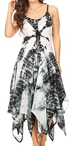Sakkas 902 Annabella Corset Bodice Handkerchief Hem Dress - Black/White - One Size Regular