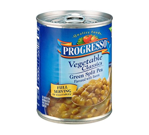 Progresso Vegetable Classics Green Split Pea Flavored with Bacon Soup 19 oz (Pack of 12)