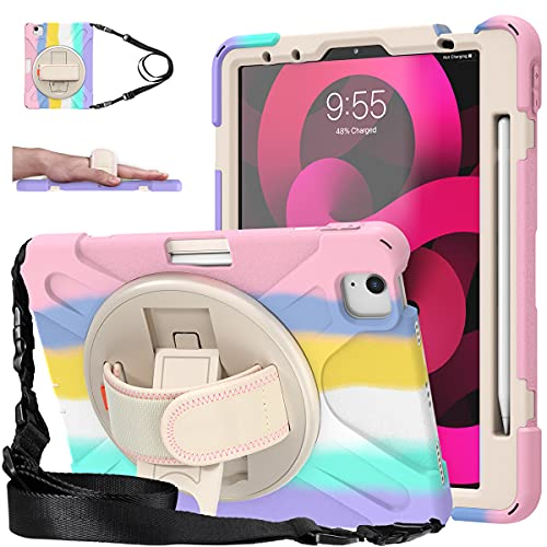 iPad Air 4 10.9 Case 2020, iPad Pro 11 Inch Case 2020/2018, Heavy Duty Shockproof Kids Case W/ Pencil Holder Hand Strap Stand Shoulder Strap for iPad Air 4th Generation 10.9 Inch, Rainbow Pink