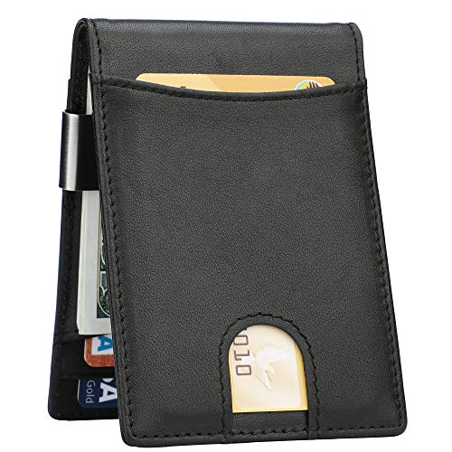 Lavemi Money Clip Wallet for Men Slim Front Pocket RFID Blocking Card Holder Minimalist Bifold Wallet(Black/Black)