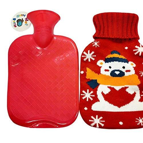 Ellsang Rubber Hot Water Bottle Warmer, 1 Liter Heat Up and Refreezable Hot Cold Pack with Knit Cover for Pain Relief Hot Cold Therapy
