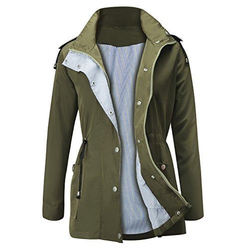 FISOUL Raincoats Waterproof Lightweight Rain Jacket Active Outdoor Hooded Women's Trench Coats Army Green