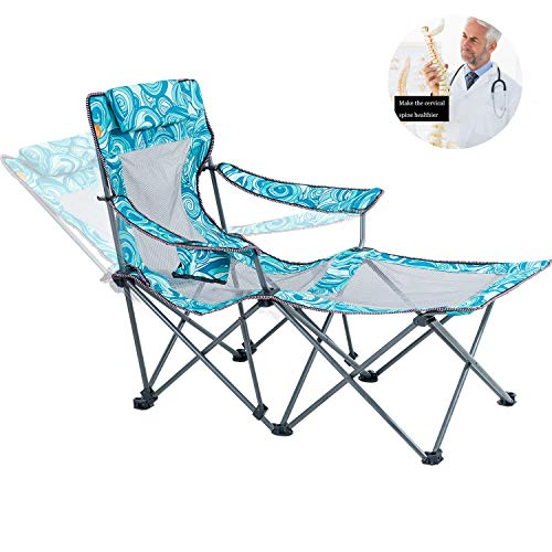 Reclining Camping Chair with Footrest Mesh Lounge Outdoor Chair Portable Folding Office Chair with Removable Pillow Cup Holder for Patio Beach Pool Side Heavy Duty 300lbs Blue