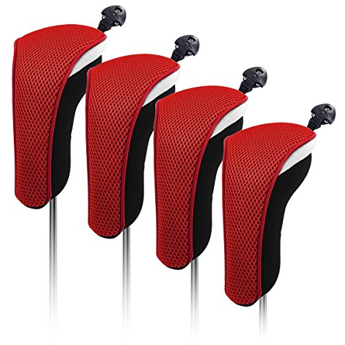 4X Thick Neoprene Hybrid Golf Club Head Cover Headcovers with Interchangeable Number Tags (Red)