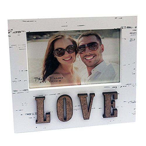 """4x6"""" Distressed Wooden Photo Frame in Off White with Word LOVE in Corc, Contemporary Shabby Chic Style. Perfect for Valentine's Day, Mother's Day, Birthdays, Anniversaries, I LOVE YOU Picture Size 4x6"""