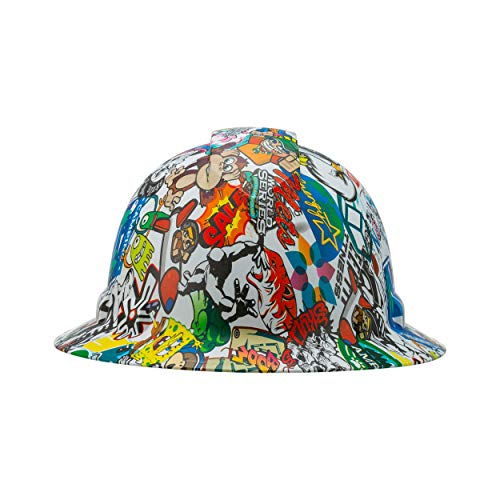Pyramex Full Brim Hard Hat with Sticker Bomb Design, 6 Point Suspension, by Acerpal