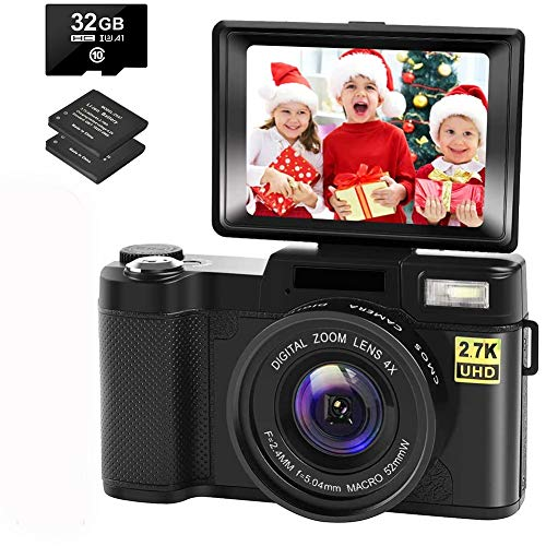 Digital Camera Vlogging Camera with YouTube 30MP Full HD 2.7K Vlog Camera with Flip Screen 180° Rotation with 32GB Memory Card and 2 Batteries (Focus Fixed)