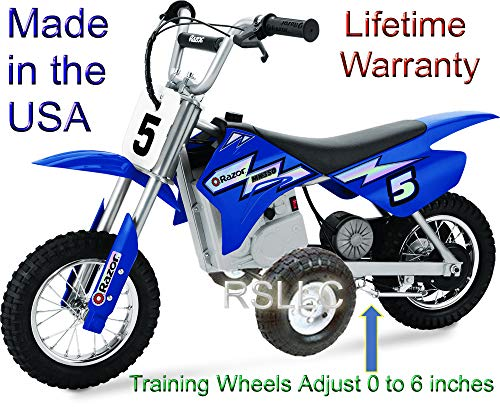 RSLLC Adjustable Motorcycle Training Wheels for Razor MX350, MX400, MX350 Dirt Rocket, MX400 Dirt Rocket, MX 350 and MX 400 - Bike NOT Included