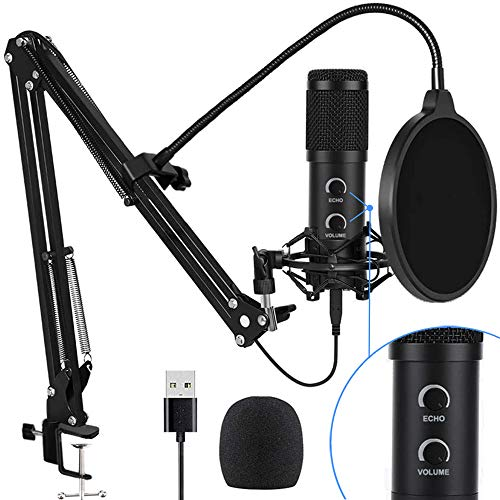 2021 Upgraded USB Condenser Microphone for Computer, Great for Gaming, Podcast, LiveStreaming, YouTube Recording, Karaoke on PC, Plug & Play, with Adjustable Metal Arm Stand, Ideal for Gift, Black