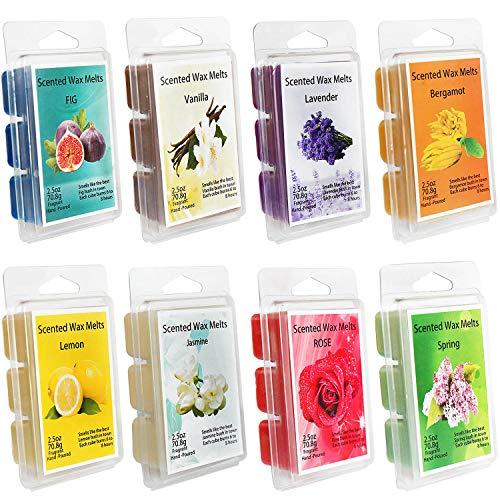 YIHAN Scented Wax Melts -Set of 8 (2.5 oz) Assorted Wax Warmer Cubes/Tarts - Jasmine, Rose, Bergamot, Fig, Vanilla, Lemon, Spring, Lavender