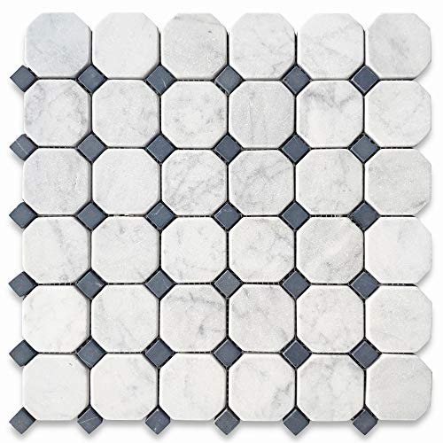 Stone Center Online Tumbled Carrara White Italian Carrera Marble Octagon Mosaic Tile Black Dots 2 inch Venato Bianco Kitchen Backsplash Non Slip Bathroom Floor Tile