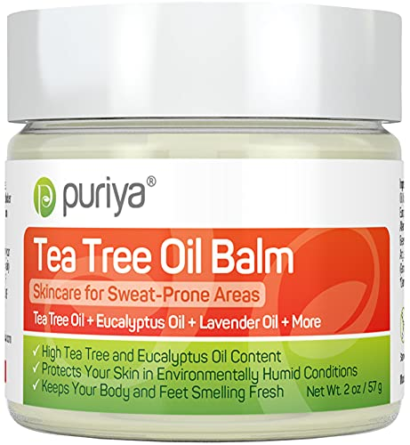 Tea Tree Oil Balm, Fast Acting Comfort for Sweat-Prone Skin Areas, Doctor Approved, Extra Strength for Athletes Itchy Foot, Groin and Body, Feel Protected, Smell Fresh All Day, Wonder Balm by Puriya