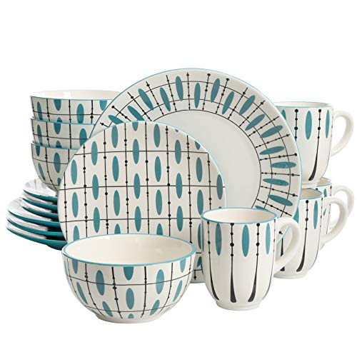 Laurie Gates Luminescent 16 Piece Dinnerware Set, Teal/White