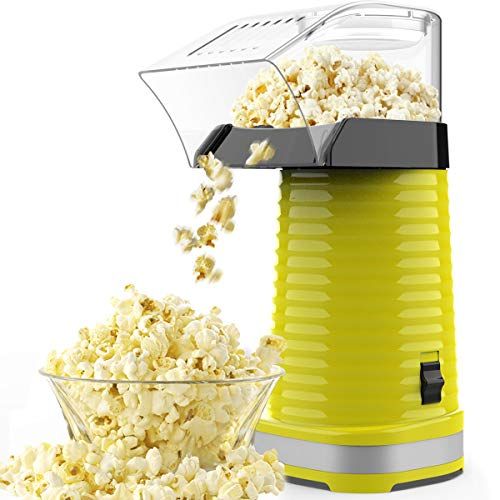 SLENPET Electric Hot Air Popcorn Popper for Home Movie Theater, 1200W Popcorn Maker with Measuring Cup and Top Lid, ETL Certified, BPA-Free, Low Fat, No Oil Needed, Fast Popcorn Machine (Yellow)