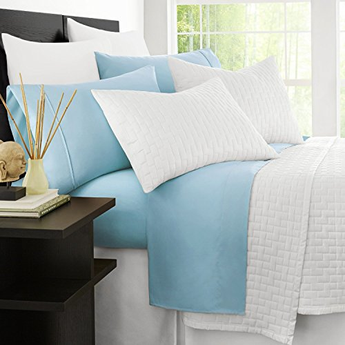 Zen Bamboo Luxury 1500 Series Bed Sheets - Eco-Friendly, Hypoallergenic and Wrinkle Resistant Rayon Derived from Bamboo - 4-Piece - King - Sky Blue