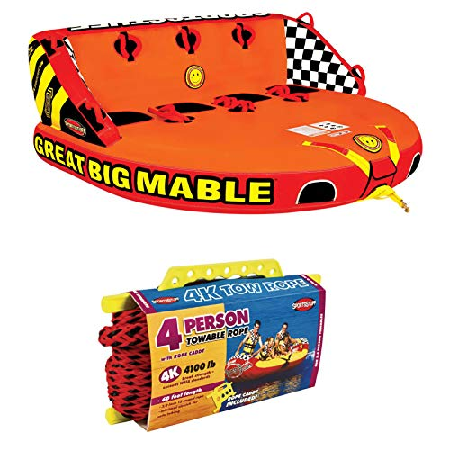 SPORTSSTUFF 53-2218 Great Big Mable 4-Person Towable Boat and Lake Tube Inflatable w/ 60-foot Tow Rope
