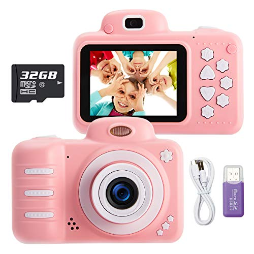 KUMUKA Kids Camera for Girls, 8.0MP Child Camera with 2.4 Inch Screen and 32GB Memory Card, Rechargeable Children Camcorder for Girls Boys Gift, Support Flashlight/Video Recording/Playback (Pink)