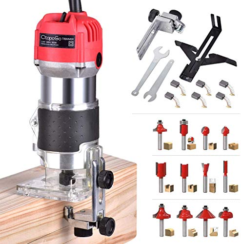 Electric Wood Compact Palm Router Hand Trimmer Woodworking Joiner Cutting Palmming Tool 30000R/MIN with 12Pcs 1/4' Router Shank Bits Set Gift for Men Home DIY Woodworking Tools