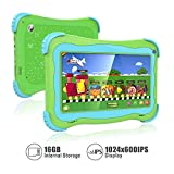 Kids Tablet 7 Android Kids Tablet Toddler Tablet Kids Edition Tablet with WiFi Dual Camera Childrens Tablet 1GB + 16GB Parental Control, Google Play Store (Green)