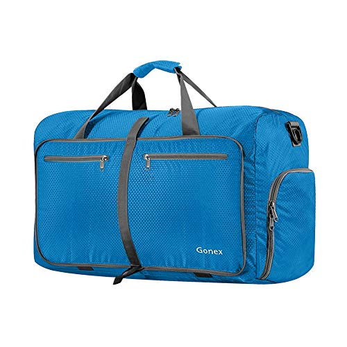 Gonex 40L Packable Travel Duffle Bag for Boarding Airline, Lightweight Foldable Gym Duffle Water Repellent & Tear Resistant Blue