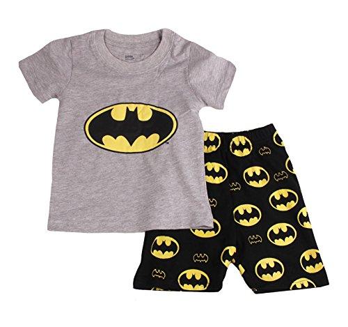 Gray Bat Boys Shorts 2 Piece Pajama Set 100% Cotton G6057,Gray,7-8Years