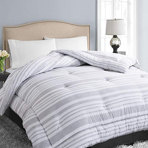 EASELAND All Season Queen Size Soft Quilted Down Alternative Comforter Hotel Collection Reversible Duvet Insert with Corner Tabs,Winter Warm Fluffy Hypoallergenic,Grey White Stripe,88 by 88 Inches